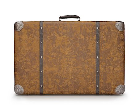 Old suitcase with wear on the surface of the leather and rust on metal. Clipping path included. Stock Photo - Budget Royalty-Free & Subscription, Code: 400-07662225