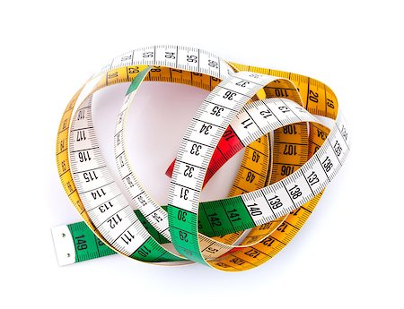 Colorful measure tape. Isolated on white background Stock Photo - Budget Royalty-Free & Subscription, Code: 400-07662600