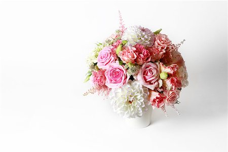 peonies background - Bouquet alstroemeria, peony and rose on white isolated background Stock Photo - Budget Royalty-Free & Subscription, Code: 400-07675785