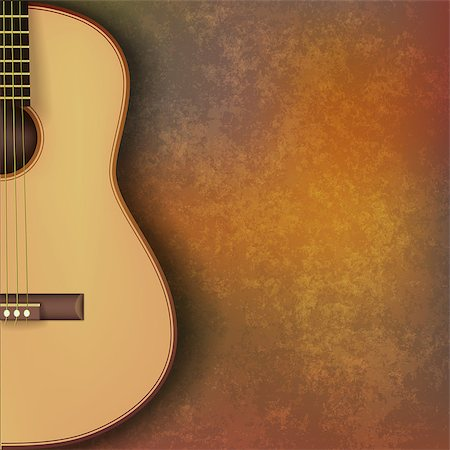 sheet music background - abstract grunge music background with guitar on brown stone texture Stock Photo - Budget Royalty-Free & Subscription, Code: 400-07675856