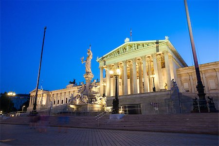 Austrian Parliament Building and The Athena Fountain at night. Stock Photo - Budget Royalty-Free & Subscription, Code: 400-07676732