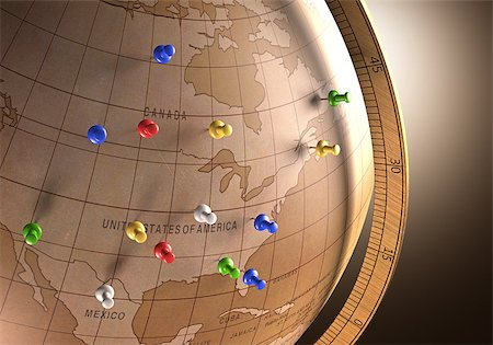 Antique globe with nails marking the travel route. Stock Photo - Budget Royalty-Free & Subscription, Code: 400-07676872