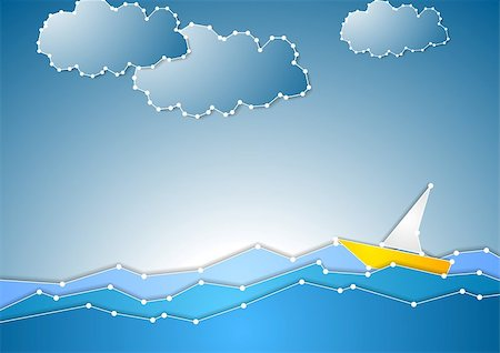 simsearch:400-04638538,k - Concept schematic sea view background. Vector design Stock Photo - Budget Royalty-Free & Subscription, Code: 400-07676896