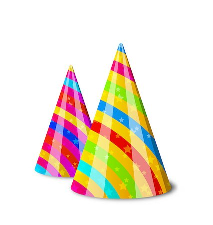 simsearch:400-04369855,k - Illustration colorful party hats for your holiday, isolated on white background - vector Stock Photo - Budget Royalty-Free & Subscription, Code: 400-07677044