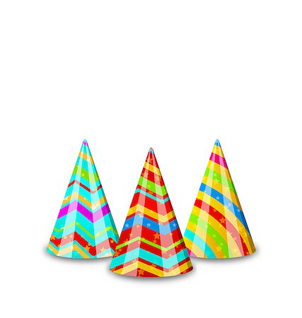 simsearch:400-04369855,k - Illustration colorful party hats for your holiday, isolated on white background - vector Stock Photo - Budget Royalty-Free & Subscription, Code: 400-07677046