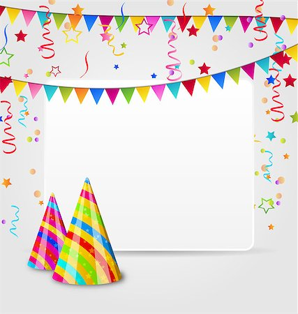 simsearch:400-04369855,k - Illustration celebration card with party hats, confetti and hanging flags - vector Stock Photo - Budget Royalty-Free & Subscription, Code: 400-07677040