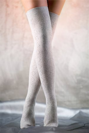 stocking feet - Beautiful woman legs in cotton stockings Stock Photo - Budget Royalty-Free & Subscription, Code: 400-07678908