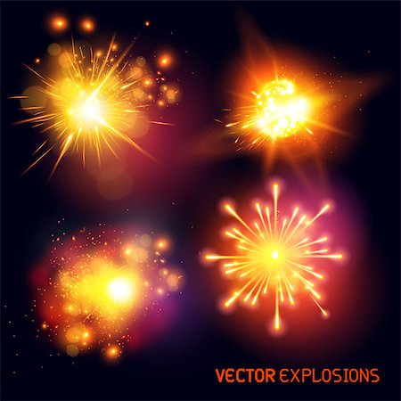 fireworks vector art - Vector Explosions - collection of fireballs and special effect explosions. Vector illustration. Stock Photo - Budget Royalty-Free & Subscription, Code: 400-07679276