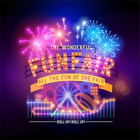 fireworks illustrations - Vintage funfair and circus park and sign. Vector illustration. Stock Photo - Budget Royalty-Free & Subscription, Code: 400-07679284