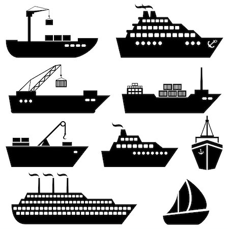 soleilc (artist) - Ships, boats, cargo, logistics, transportation and shipping icons Stock Photo - Budget Royalty-Free & Subscription, Code: 400-07670095
