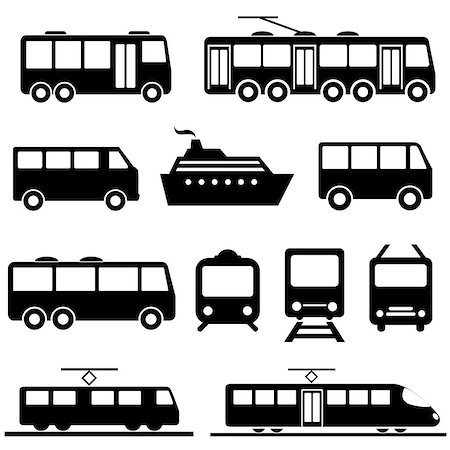soleilc (artist) - Bus, ship, train public transportation icon set Stock Photo - Budget Royalty-Free & Subscription, Code: 400-07670096