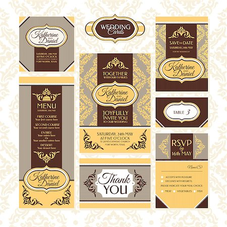 elegant wedding floral graphic - Set of wedding cards. Wedding invitations, Thank you card, Save the date card, Table card, RSVP card and Menu. Stock Photo - Budget Royalty-Free & Subscription, Code: 400-07670106