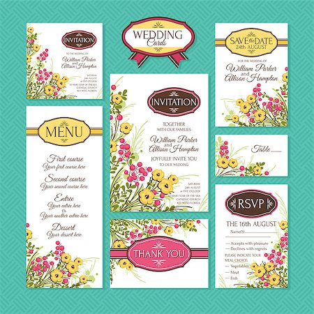 elegant wedding floral graphic - Set of wedding cards. Wedding invitations, Thank you card, Save the date card, Table card, RSVP card and Menu. Stock Photo - Budget Royalty-Free & Subscription, Code: 400-07670107