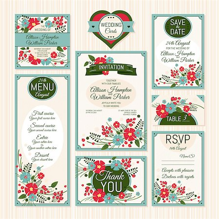 elegant wedding floral graphic - Set of wedding cards. Wedding invitations, Thank you card, Save the date card, Table card, RSVP card and Menu. Stock Photo - Budget Royalty-Free & Subscription, Code: 400-07670109