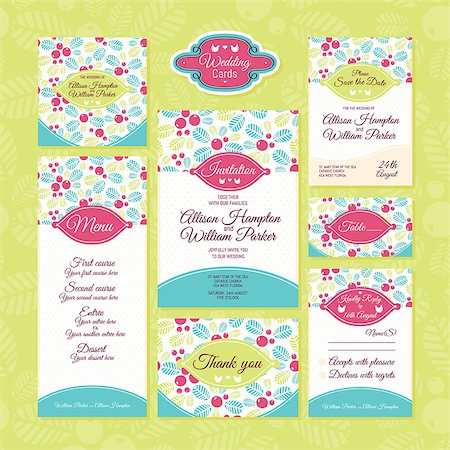 elegant wedding floral graphic - Set of wedding cards. Wedding invitations, Thank you card, Save the date card, Table card, RSVP card and Menu. Stock Photo - Budget Royalty-Free & Subscription, Code: 400-07670111