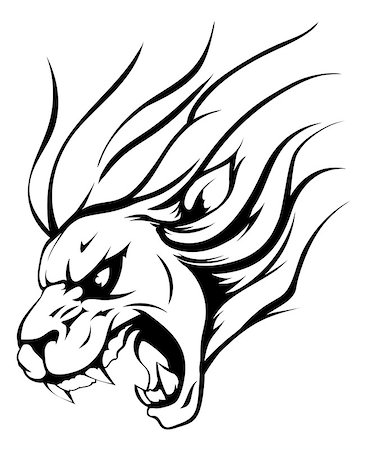 roar lion head picture - An illustration of a strong angry lion mascot roaring Stock Photo - Budget Royalty-Free & Subscription, Code: 400-07670611