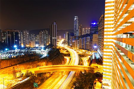 traffic in Hong Kong city at sunset time Stock Photo - Budget Royalty-Free & Subscription, Code: 400-07681274