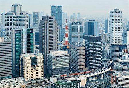 Dense skyline of Umeda District, Osaka, Japan Stock Photo - Budget Royalty-Free & Subscription, Code: 400-07681282