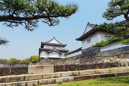 Osaka castle and moat at day Stock Photo - Budget Royalty-Free & Subscription, Code: 400-07681780