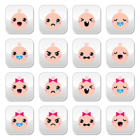 Vector buttons set of happy, sad, crying babies isolated on white Stock Photo - Budget Royalty-Free & Subscription, Code: 400-07682317