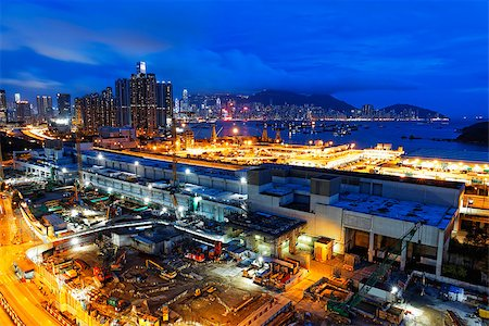 pipework - Construction site in hong kong city at night Stock Photo - Budget Royalty-Free & Subscription, Code: 400-07715495