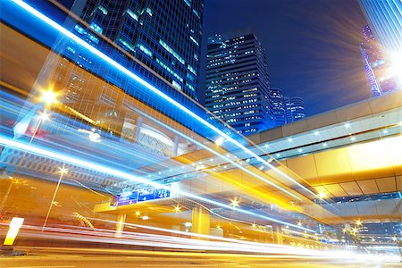 hong kong modern city High speed traffic and blurred light trails Stock Photo - Budget Royalty-Free & Subscription, Code: 400-07715854