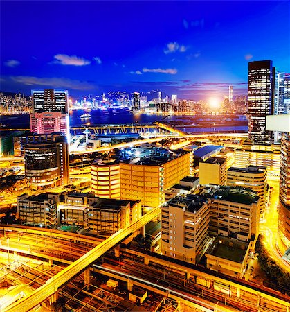 Hong Kong night, Kowloon Kwun Tong Stock Photo - Budget Royalty-Free & Subscription, Code: 400-07715856