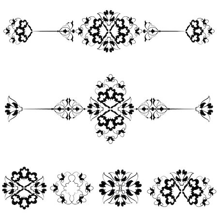 flower drawings black - Versions of Ottoman decorative arts, abstract flowers Stock Photo - Budget Royalty-Free & Subscription, Code: 400-07715896