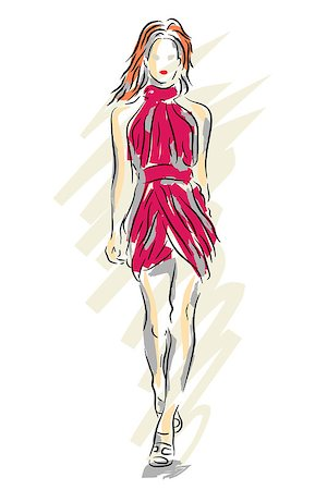 Editable vector sketch of a fashion model walking down a catwalk Stock Photo - Budget Royalty-Free & Subscription, Code: 400-07716862