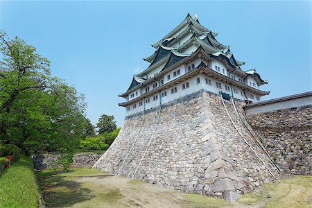 """Nagoya castle atop with golden tiger fish head pair called """"King Cha Chi"""", Japan Stock Photo - Budget Royalty-Free & Subscription, Code: 400-07716965"""
