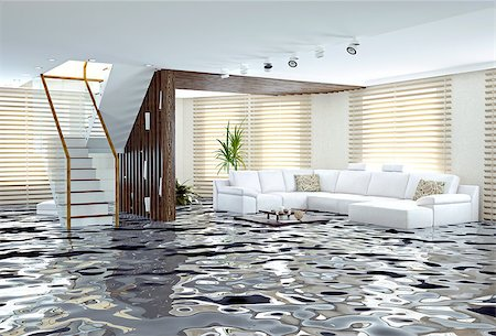 flooded homes - flooding in luxurious interior. 3d creative concept Stock Photo - Budget Royalty-Free & Subscription, Code: 400-07712681
