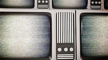 3D rendert of Retro tv screens with static. Stock Photo - Budget Royalty-Free & Subscription, Code: 400-07724096