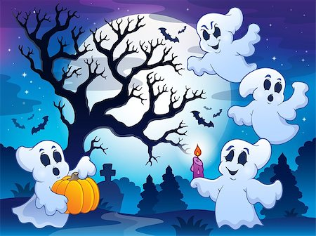 Spooky tree theme image 4 - eps10 vector illustration. Stock Photo - Budget Royalty-Free & Subscription, Code: 400-07729110
