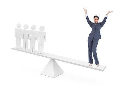 Scales weighing cheering businesswoman and stick men on white background Stock Photo - Budget Royalty-Free & Subscription, Code: 400-07721295