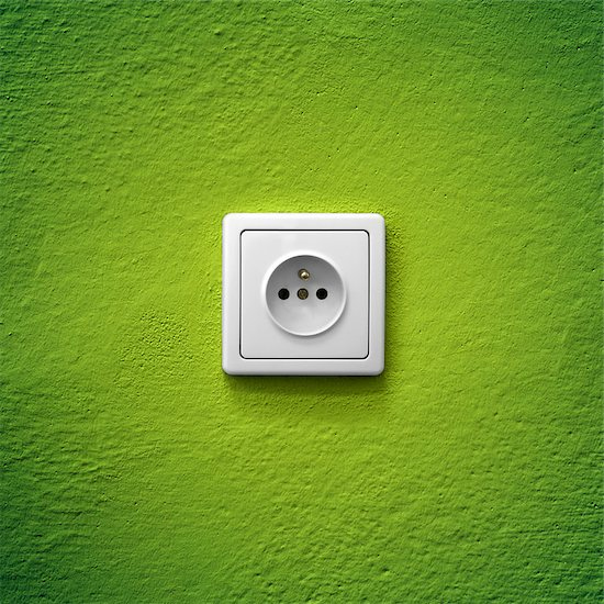 Green power socket simple white electric socket on green wall Stock Photo - Royalty-Free, Artist: studio023, Image code: 400-07748516