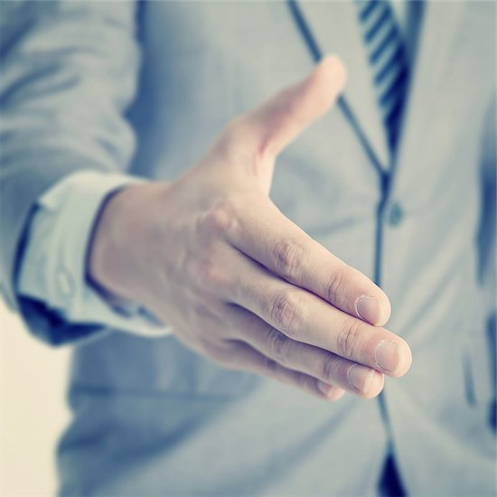 Close up businessman offer hand shake, in vintage retro toned effect. Stock Photo - Royalty-Free, Artist: szefei, Image code: 400-07748791