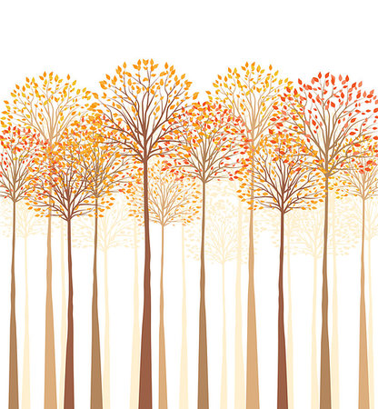 Vector autumn tree on a white background Stock Photo - Budget Royalty-Free & Subscription, Code: 400-07749347