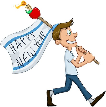 Vector illustration of jewish guy holds happy new year flag for rosh hashana Stock Photo - Budget Royalty-Free & Subscription, Code: 400-07749548