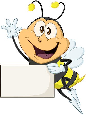 Vector illustration of a cute flying bee holds sign and waves Stock Photo - Budget Royalty-Free & Subscription, Code: 400-07749541