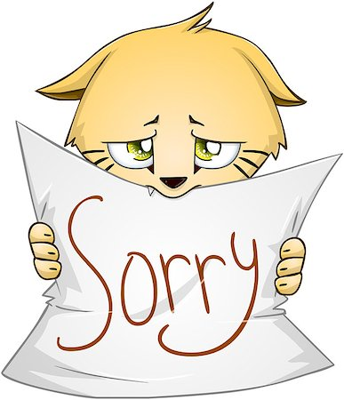 Vector illustration of a cute kitten holds sign of apology Stock Photo - Budget Royalty-Free & Subscription, Code: 400-07749542
