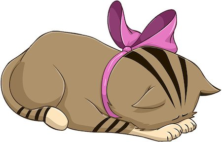 Vector illustration of a cute kitten bows in apology Stock Photo - Budget Royalty-Free & Subscription, Code: 400-07749543