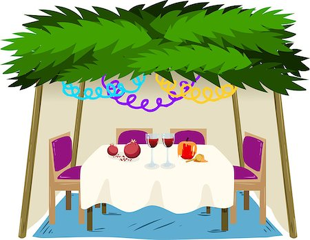 Vector illustration of Sukkah with ornaments table with food for the Jewish Holiday Sukkot. Stock Photo - Budget Royalty-Free & Subscription, Code: 400-07749551
