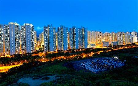 Public Estate in Hong Kong at night Stock Photo - Budget Royalty-Free & Subscription, Code: 400-07754612