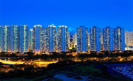 Public Estate in Hong Kong at night Stock Photo - Budget Royalty-Free & Subscription, Code: 400-07754613