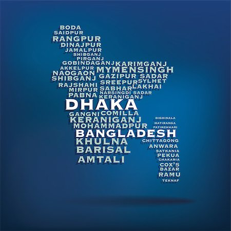 dhaka - Bangladesh map made with name of cities - vector illustration Stock Photo - Budget Royalty-Free & Subscription, Code: 400-07756111