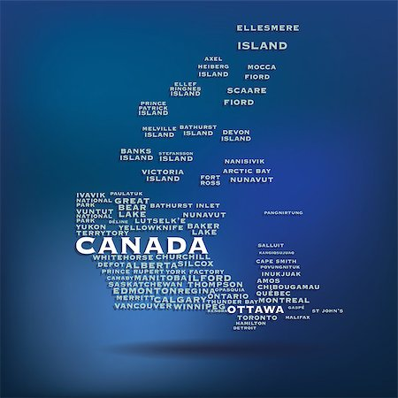 Canada map made with name of cities - vector illustration Stock Photo - Budget Royalty-Free & Subscription, Code: 400-07756125