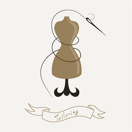 simsearch:400-04096935,k - Tailoring emblem with mannequin or dummy and banner and threaded needle. Fashion and tailoring logo design. Vector Stock Photo - Budget Royalty-Free & Subscription, Code: 400-07756620