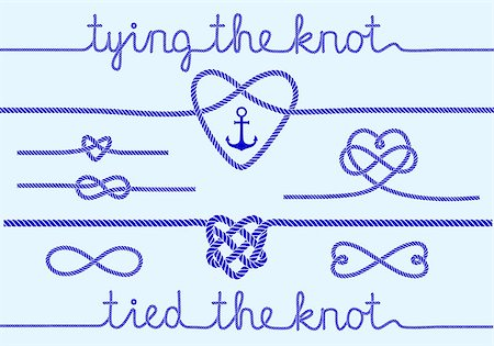 tying the knot, rope hearts for wedding invitation, set of vector design elements Stock Photo - Budget Royalty-Free & Subscription, Code: 400-07756794