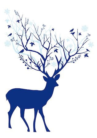Blue Christmas deer with tree branch antlers, vector illustration Stock Photo - Budget Royalty-Free & Subscription, Code: 400-07757131