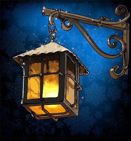 lantern in the winter night, this illustration may be useful as designer work Stock Photo - Budget Royalty-Free & Subscription, Code: 400-07757963
